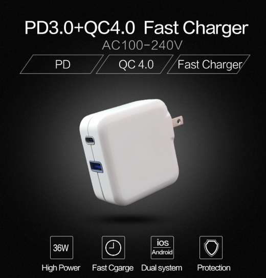 BSMI Type C PD3.0/QC3.0+Type A QC3.0 36W fast Charger - 2